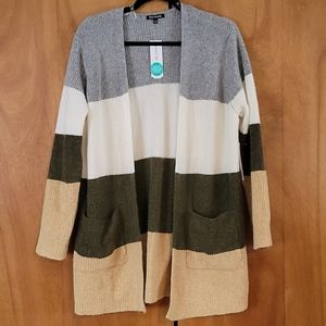 Super soft open front striped sweater NWOT